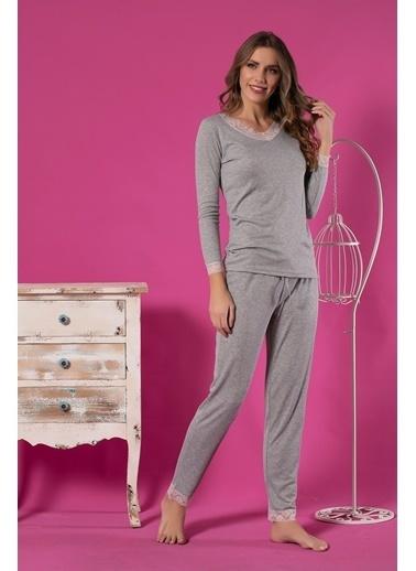 Siyah İnci Pamuklu Likralı Pijama Takım Gri